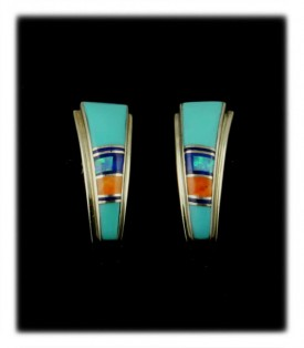 Turquoise Inlay Post Earrings - Zuni Handcrafted