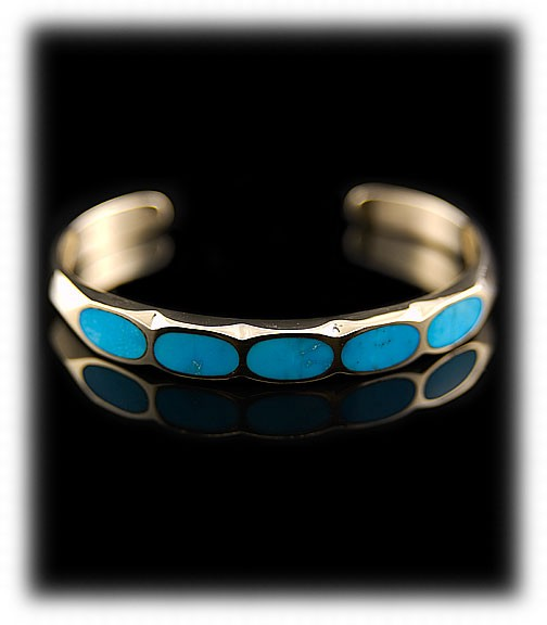 14k yellow gold and inlay Blue Gem  Quality Turquoise Bracelet