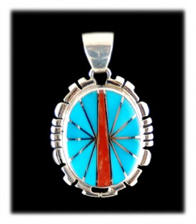 Inlaid Sleeping Beauty Turquoise and Coral Pendant