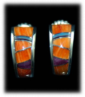 Southwest Silver Inlay Earrings with Spiny Oyster Shell