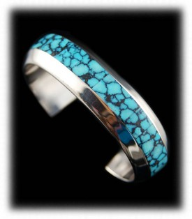 Inlay Spiderweb Turquoise Bracelet
