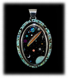 Inlay Turquoise Pendant - Inlayed Pendant with Turquoise and Other Gemstones