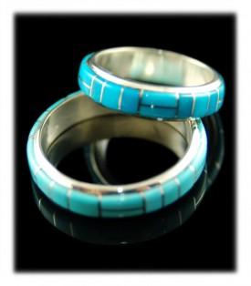 Inlaid Sleeping Beauty Turquoise Ring Bands