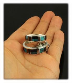 multi colored inlay wedding ring - Navajo Wedding Rings