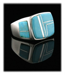 American Indian made Sleepng Beauty and silver band ring