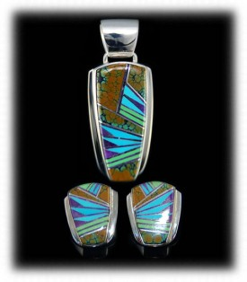 Turquoise Inlaid with Gemstones in ultra fine Inlay - Earrings and Pendant