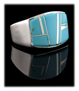 Pictured here is a heavy duty men's silver band ring with top grade natural Sleeping Beauty Turquoise