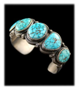 Navajo Row Bracelet with Kingman Spiderweb Turquoise