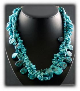 Kingman and Tibetan Turquoise Beaded Necklace