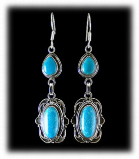Chandelier Earrings - Kingman Turquioise in Sterling Silver