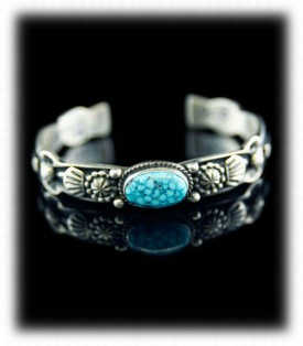 Sterling Silver Bracelet with Kingman Turquoise