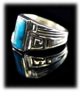 Artisan handmade Sterling Silver and genuine Kingman Turquoise ring for ladies