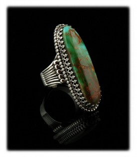 Take a look at this beautiful handmade Sterling Silver cocktail ring for women with natural Royston Turquoise