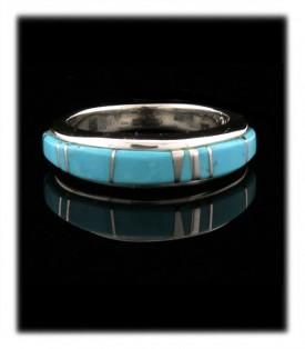 Ladies inlay band ring with genuine blue Arizona Turquoise from Globe, Arizona USA