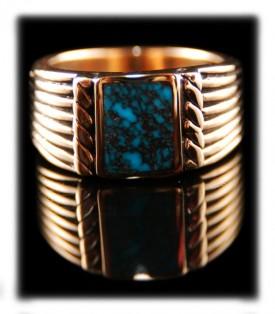 lander blue turquoise gold ring