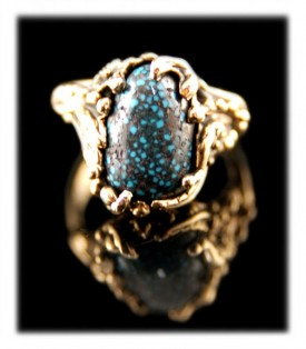 The world famous Lander Blue Turquoise and 14k gold lost wax ring by Nattarika Hartman