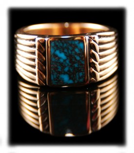 Mens Gold Ring with Blue Turquoise
