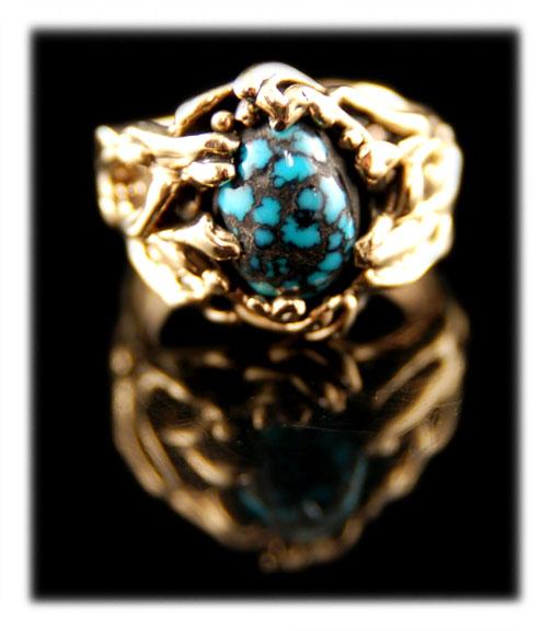 Lander Blue Spiderweb Turquoise gold ring