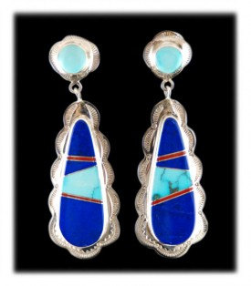 Lapis and Turquoise Earrings - American Indian Inlaid