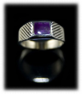 Mens Silver Ring Band with Lapis