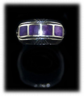 Silver Band with Lapis Inlaid Gemstones