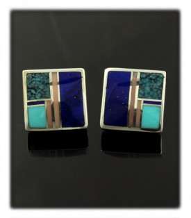 Lapis Turquoise Inlay Stud Earrings