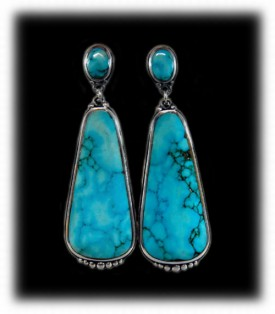 Large Blue Dangle Turquoise Earrings