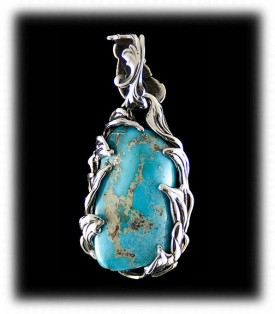 Nugget Cut Sleeping Beauty Turquoise Pendant