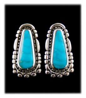 Large Rich Blue Silver Turquoise Post Earrings