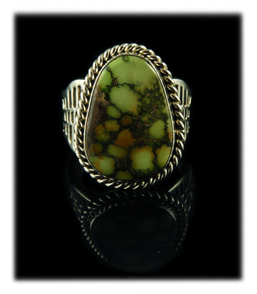 Lime Green Damele Spiderweb Turquoise Cabochon Silver Ring