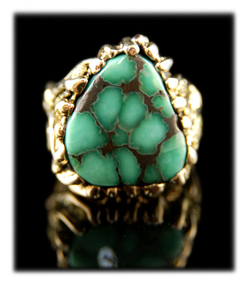 Lime Green Damele Spiderweb Turquoise Cabochon Ring