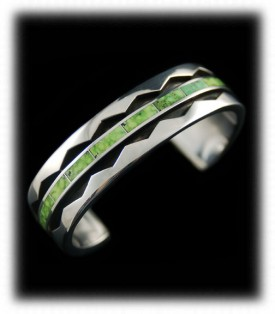 Lime Green Turquoise Mens Silver Bracelets