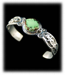 Pictorial Silver Bracelet with Lime Green Turquoise
