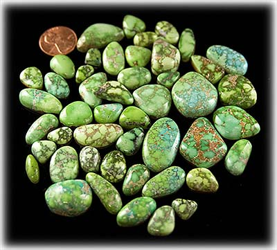 High Grade Natural Carico Lake lime green Turquoise cabochons