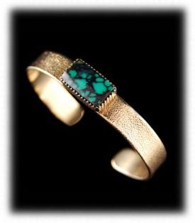 Lime Green Turquoise Gold Bracelet