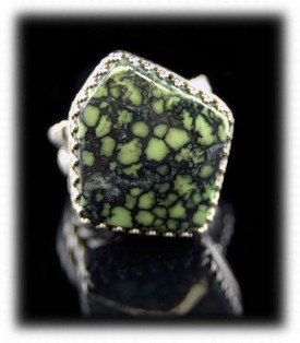 Lime Green Tortoise Turqoise Ring - fossil Turquoise