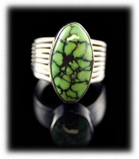Lime Turquoise and Silver Ring