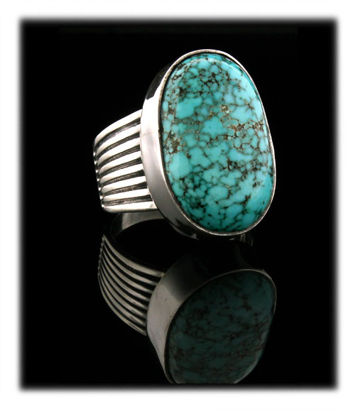 Lone Mountain Spiderweb Turquoise in a silver ring
