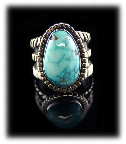 Water Web Lone Mountain Spiderweb Turquoise in a Sterling Silver ring by Dillon Hartman