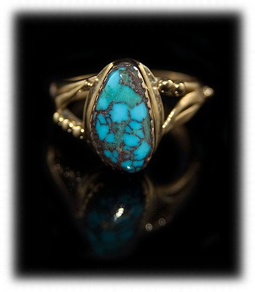 Lone Mountain Turquoise and gold ring