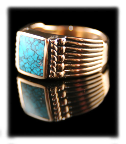 Gold Lone Mountain Spiderweb Turquoise ring