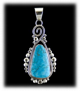 Navajo Made Turquoise Pendant - Lookout Mountain Turquoise