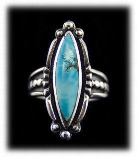 Womens Sterling Silver and natural Lookout Mountain Turquoise Ring