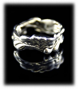 Lost Wax Silver Ring Band by Crystal Hartman