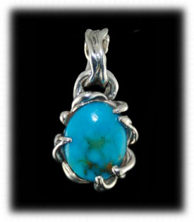 Lost Wax Turquoise Pendant