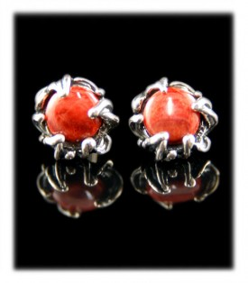 Coral sterling silver post earrings