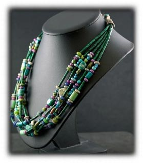 Malechite and Turquoise Beaded Treasure Necklace