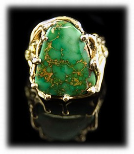 14K Gold Mens Turquoise Ring with Manassa Turquoise