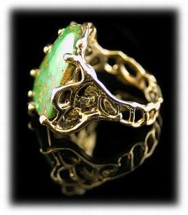 14K Gold Manassa Mens Turquoise Ring