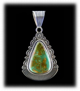 Manassa Turquoise Pendant in handstamped Sterling Silver